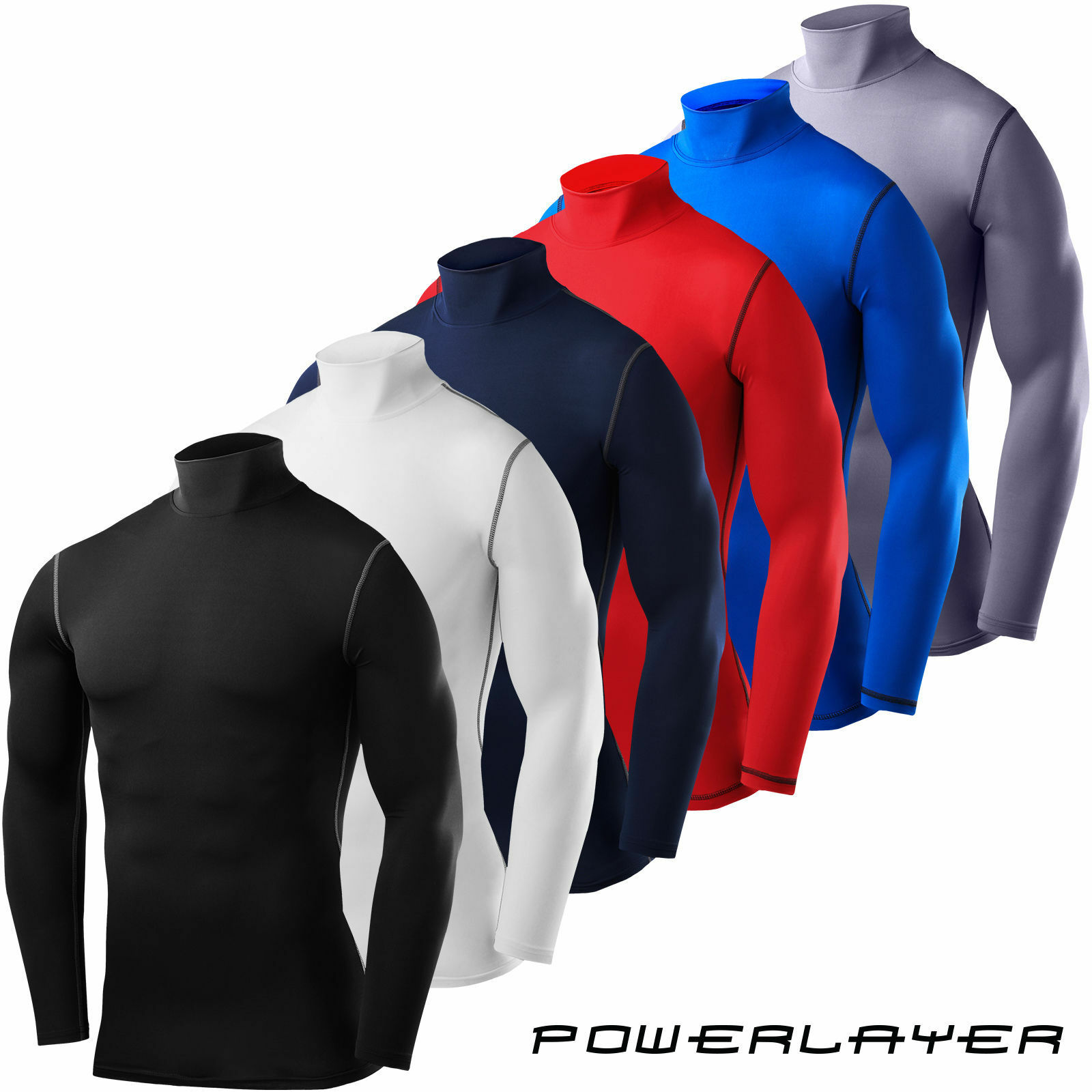 TCA Mens Boys Body Armour Compression Baselayer Powerlayer Shirt Mock Neck