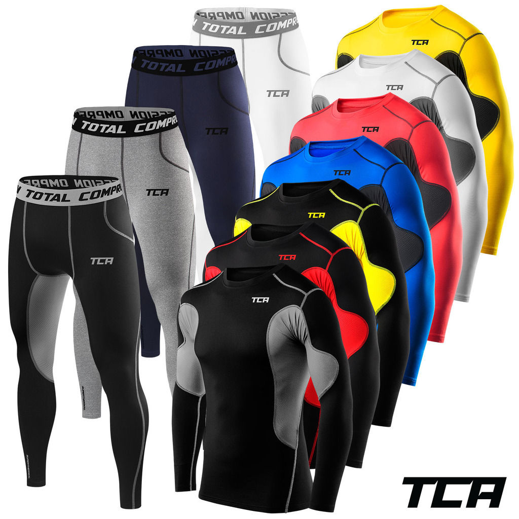Mens TCA Thermal Compression Base Layer Long Sleeve Top and Tights Gym Set