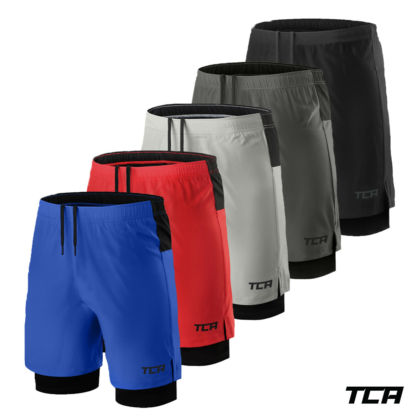 TCA Mens Ultra 2 in 1 Run Training Shorts with Compression Short