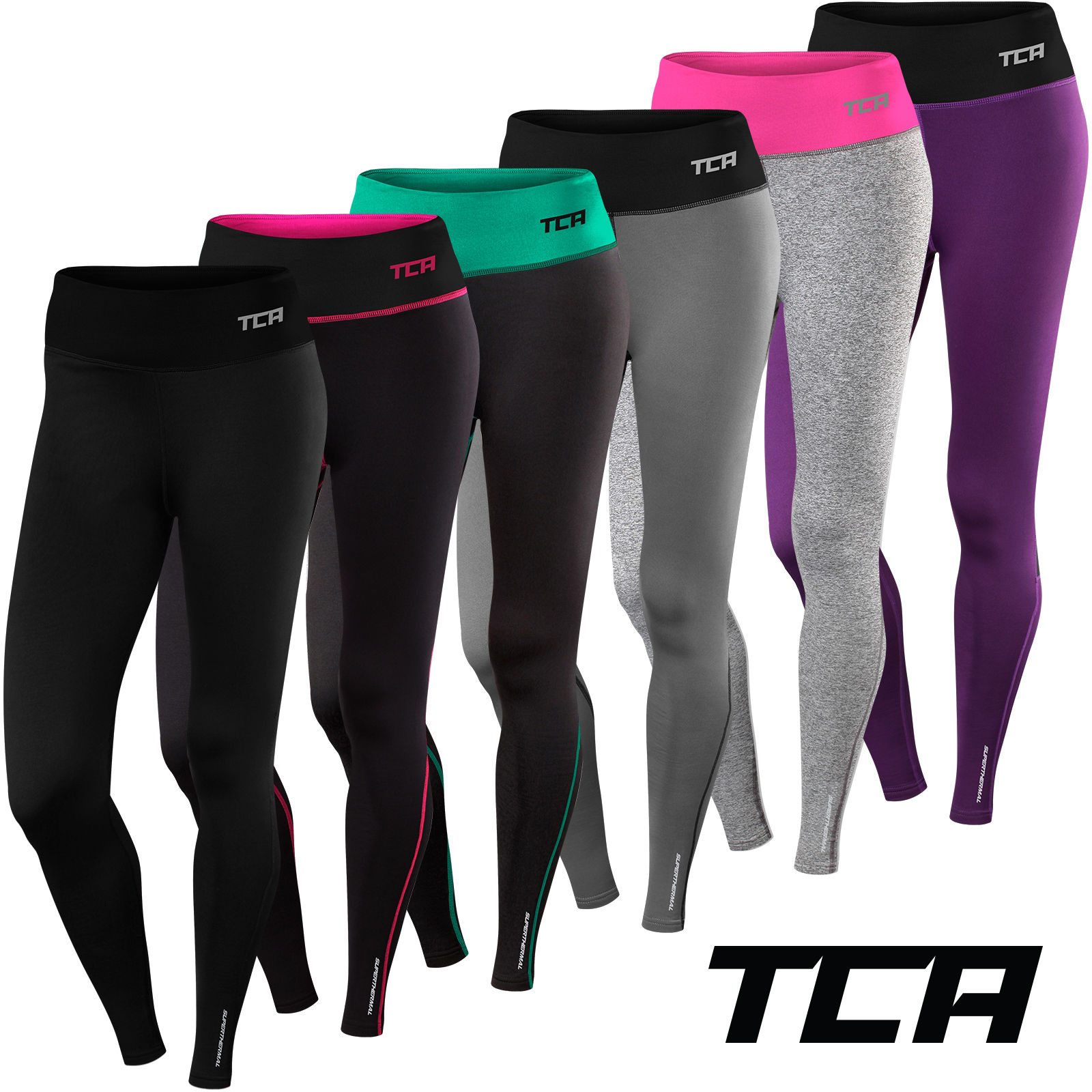 TCA Womens Thermal Running Tights Gym Workout Fitness Warm Bottoms