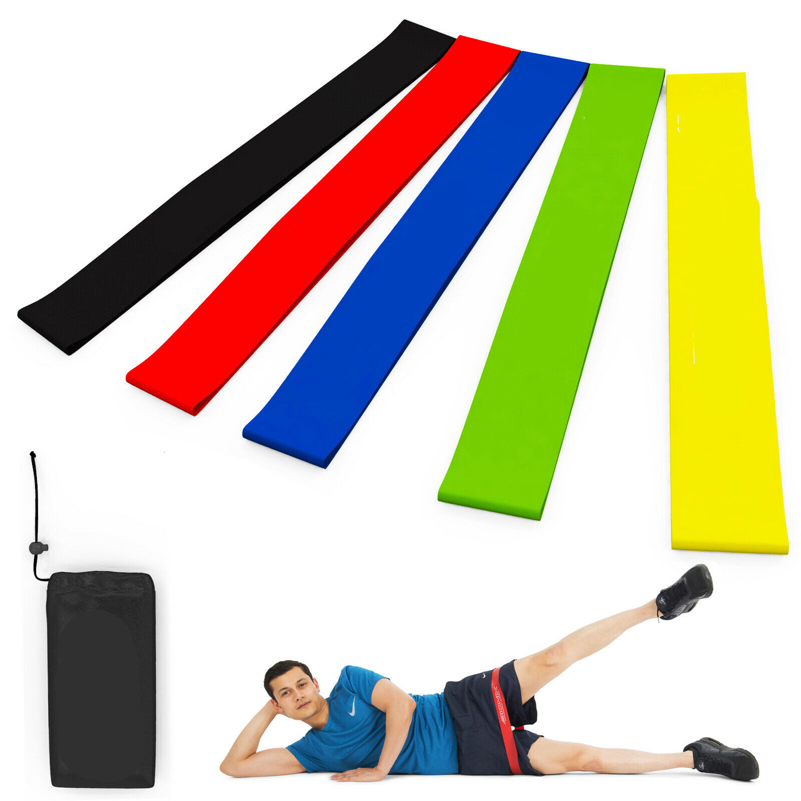 5 Resistance Exercise Bands Loop Set Home Gym Fitness