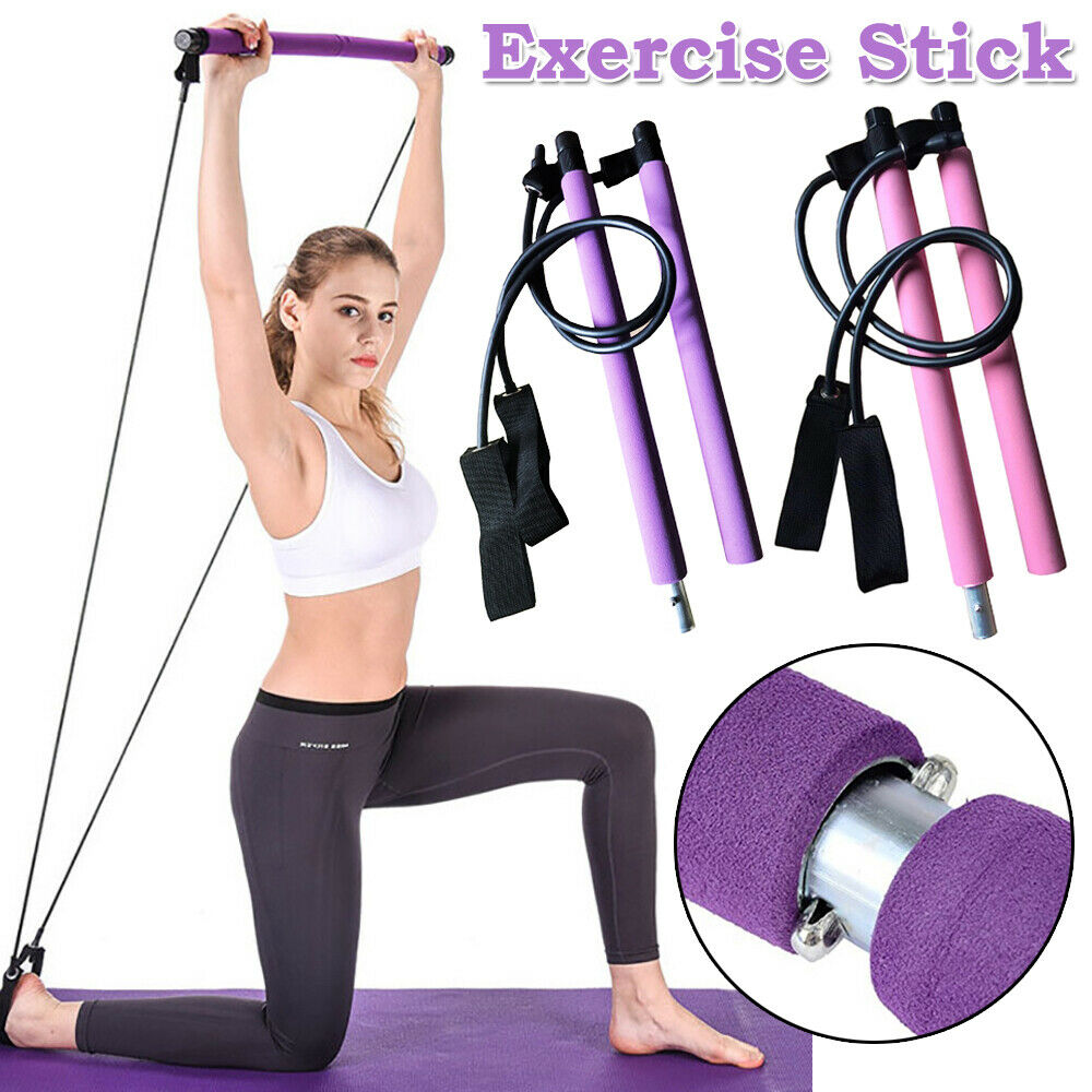 Portable Pilates Bar Kit Adjustable Exercise Stick with Resistance Band