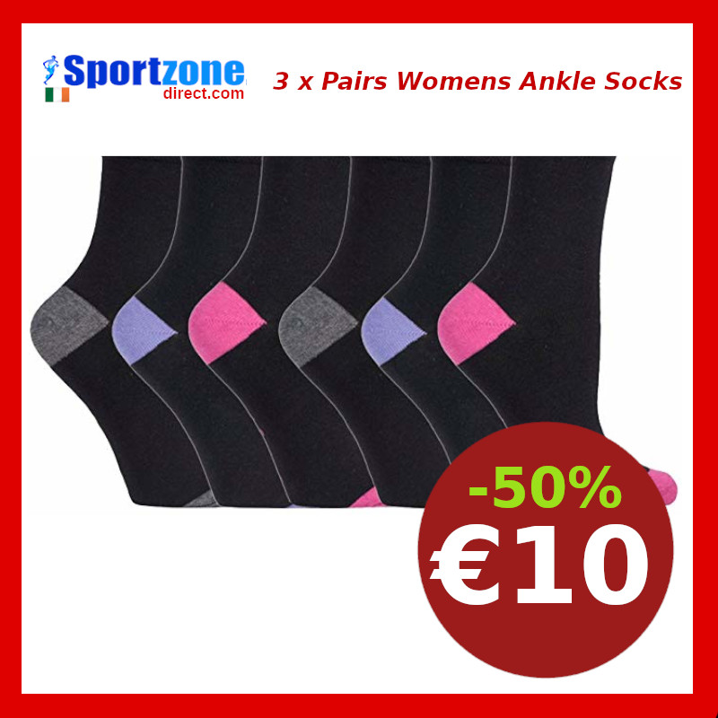 Womens  Sports Training Ankle Socks 3 x Pairs
