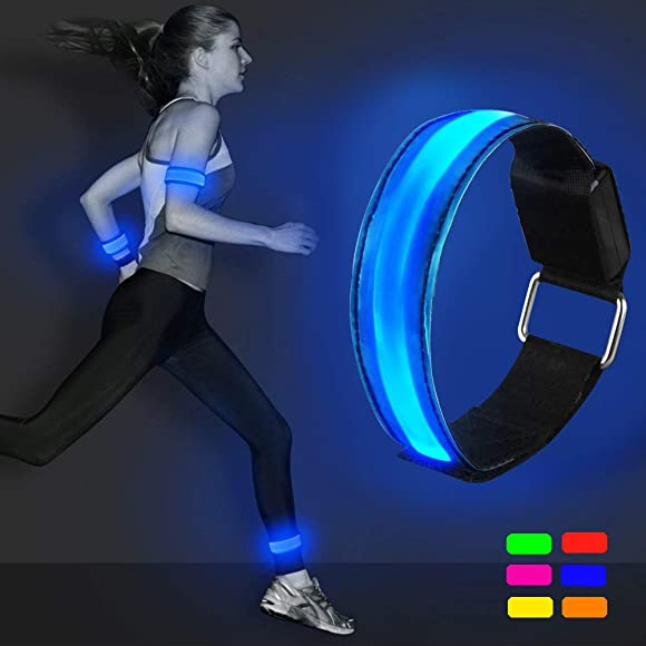 2 Pack LED Safety Flashing Lights High Visibility Elastic Arm Bands Sports for Running Bicycle