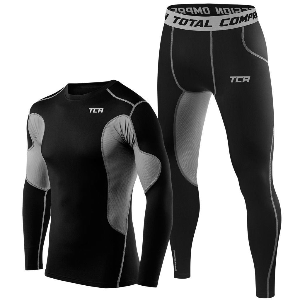 Best Mens TCA Thermal Compression Base Layer Long Sleeve Top and Tights Gym Set