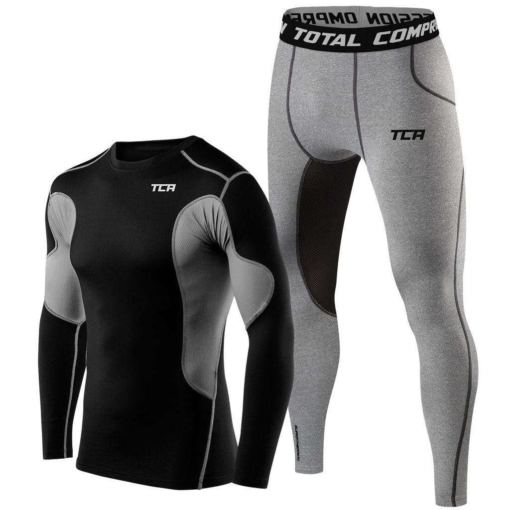 Buy Mens TCA Thermal Compression Base Layer Long Sleeve Top and Tights Gym Set Ireland