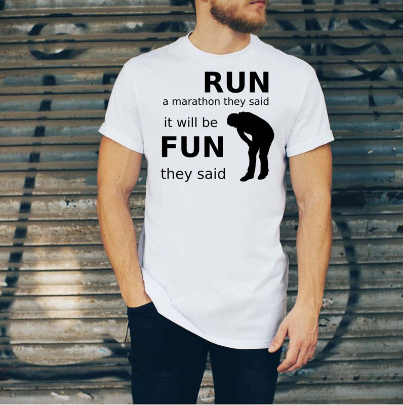 Run a Marathon T Shirt Mens White