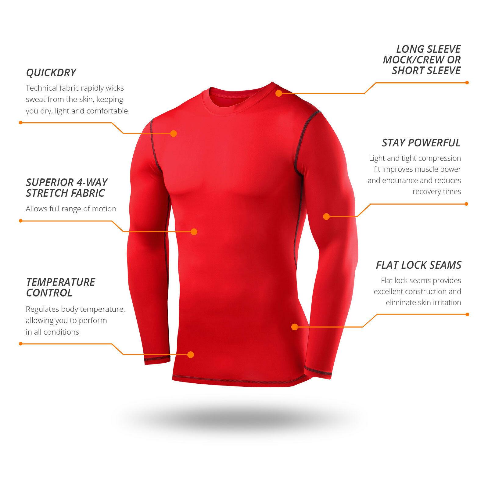 Best TCA Mens Boys Body Armour Compression Baselayer Powerlayer Shirt Mock Neck