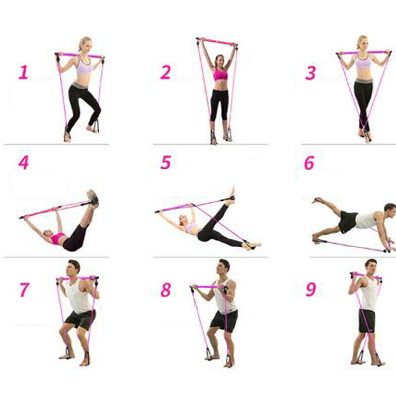 Portable Pilates Bar Kit Adjustable Exercise Stick with Resistance Band Ireland